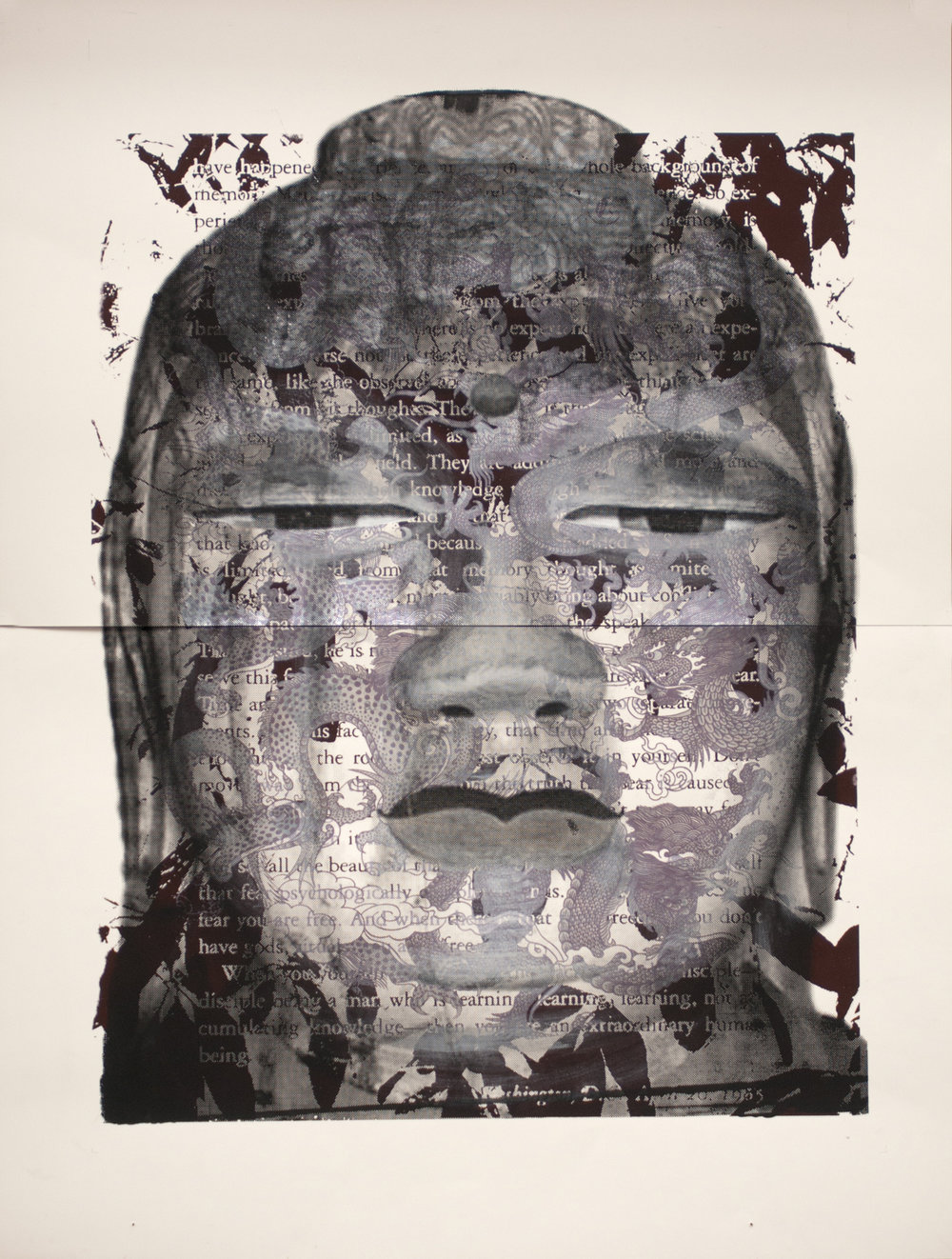"'Prana' Buddha 38x49"" Edition 1/1 Paper in Dark Walnut Frame"