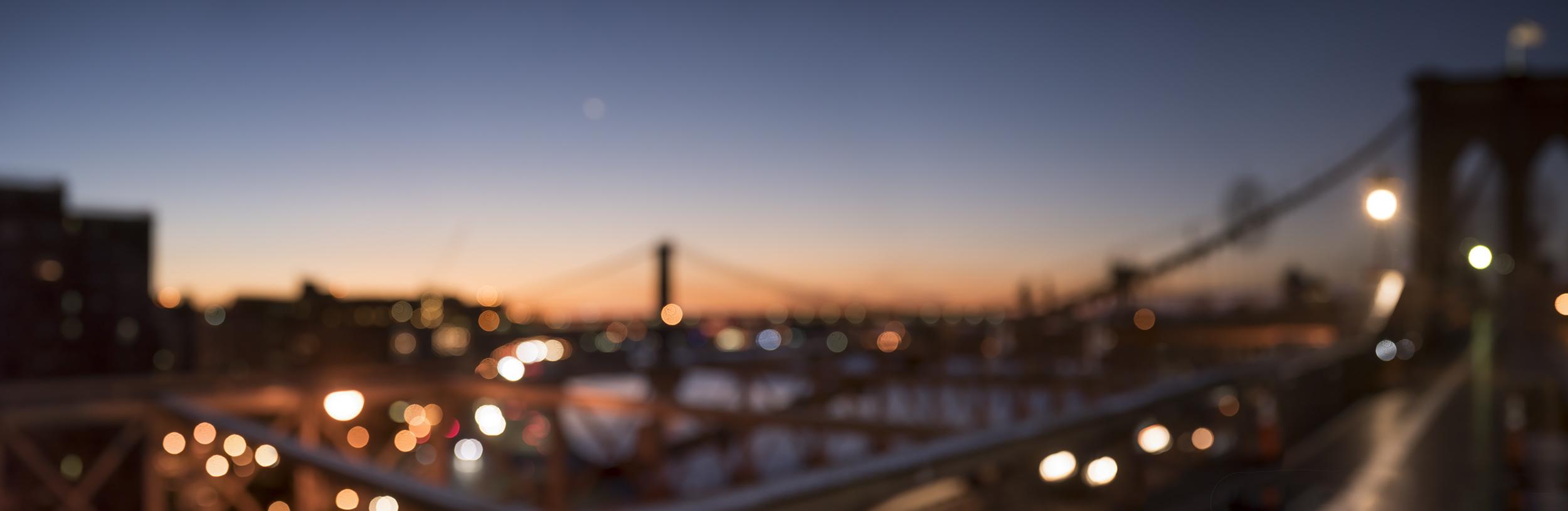 """Brooklyn Bridge Sunrise '87441' 26x80"""" Edition 1/5 in Dark Walnut Frame"""