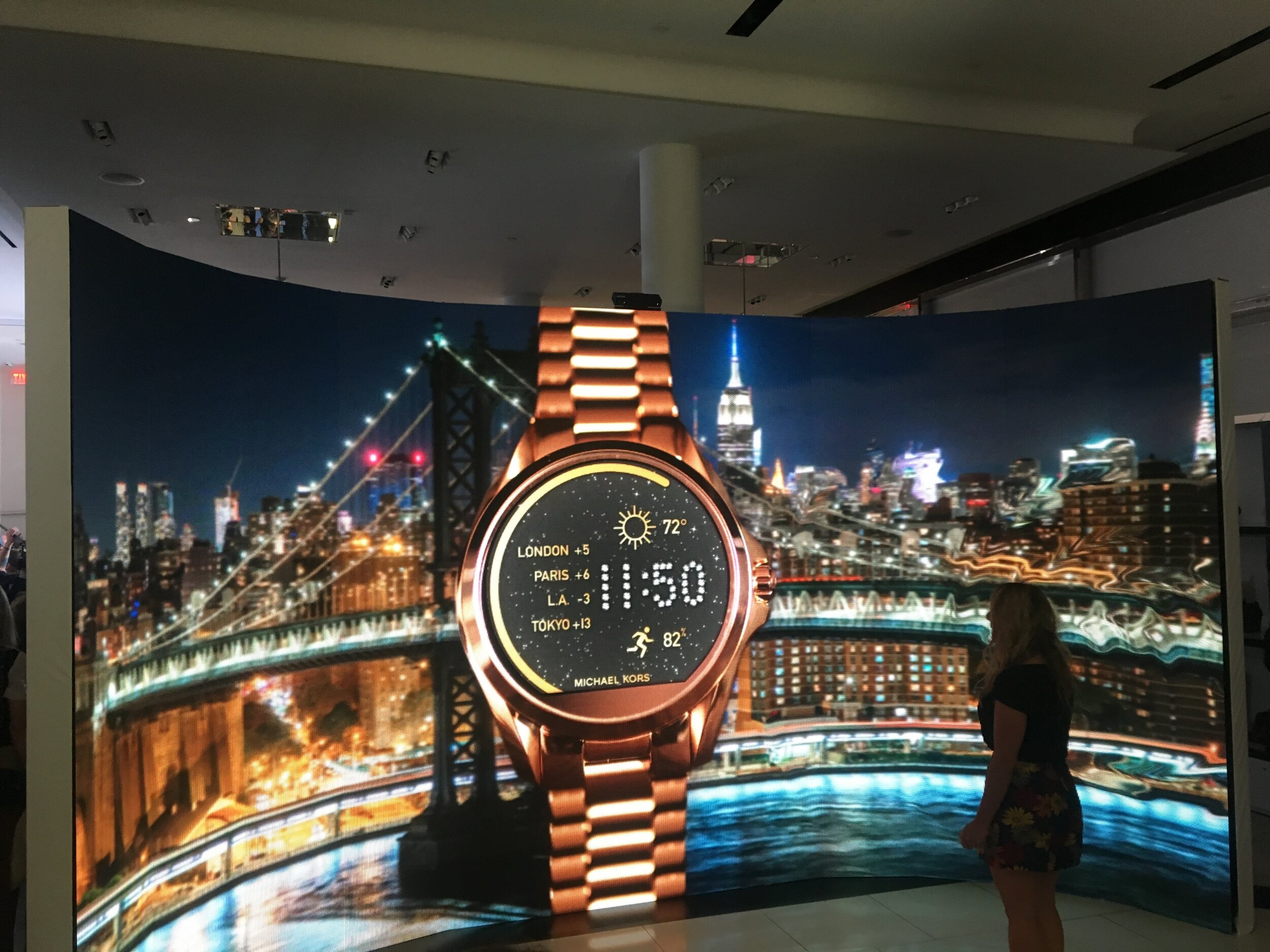 Michael Kors Broadway flagship store —Curved 16 ½' x 10' LED wall with motion control integration and custom surroundings. (Partner: Imaginex)