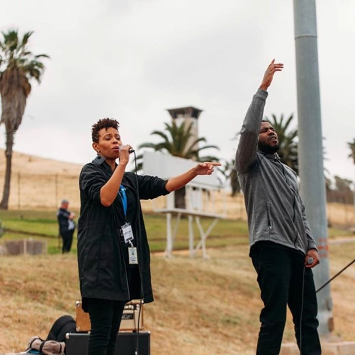 Temika Moore collaborating with inspirational Hip-Hop artist, Nehemiah at a men's correctional institution during Prison Fellowship's Easter Weekend Hope events in Chino Hills, California. Photo: Courtesy of Prison Fellowship