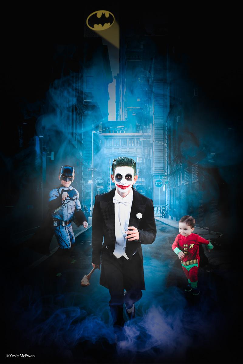 Credits: Tim as The Joker, Tony as Batman, and Dean as Robin.