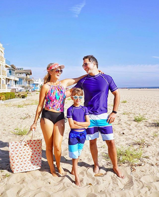 @xo.rachelpitzel and her beautiful family looking great in @caribbeanjoeofficial!! Shop link in bio! 🏖🦋🌞🐟. . . . #beach #family #beachvibes #summer #summervibes☀️ #influencer #mom #son #dad #familytime