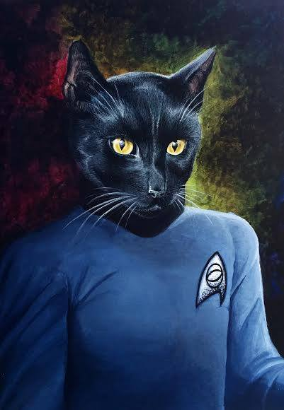 "Cat Spock is one of three personal pet portraits. Acrylic on watercolor paper, 11""x14""."