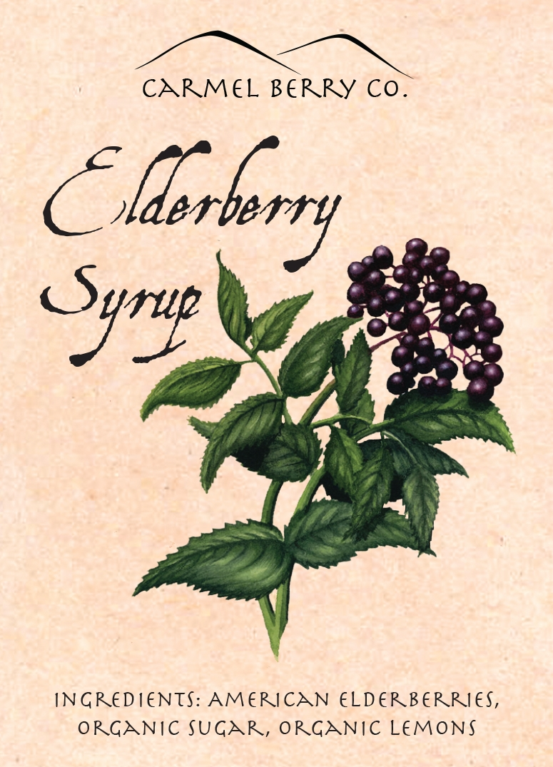Terra Dawson designed this label for the Carmel Berry Company. Their products are fantastic. You can learn more about them and grab a bottle of their Elderberry Syrup or their fantastic Elderflower Cordial at  http://carmelberry.com /