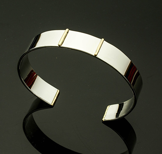 Gold and Silver Men's Cuff - Two 18k Bars