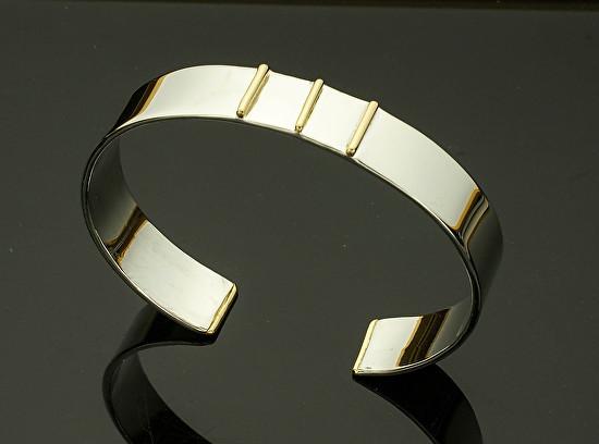 Gold and Silver Men's Cuff - Three 18k Bars