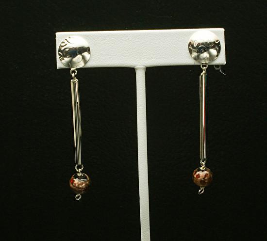 Multi-colored Brown Bead Earrings