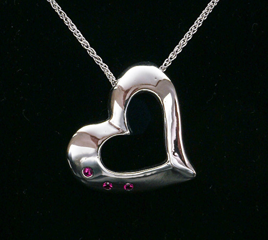 Silver Heart Pendant with 3 Ruby Gemstones