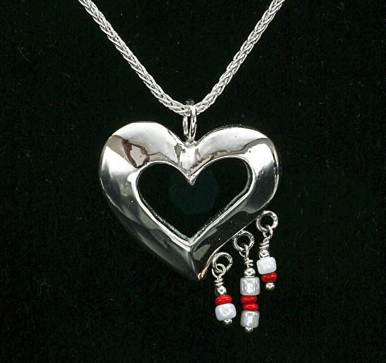 Silver Heart with Glass Beads