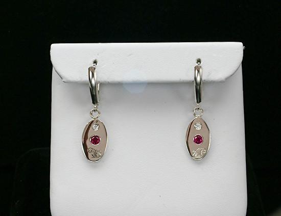 Silver Ruby Swarovski Engraved Earrings