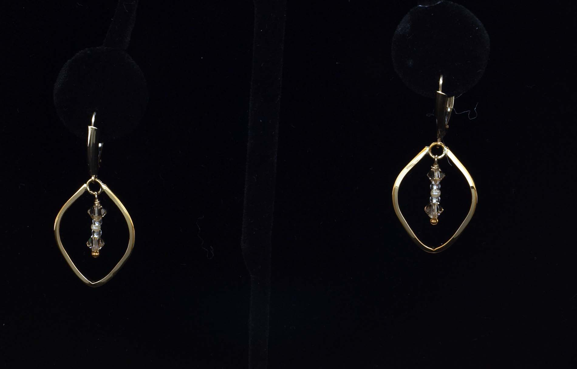 Gold Filled Triangles with Beads Earrings