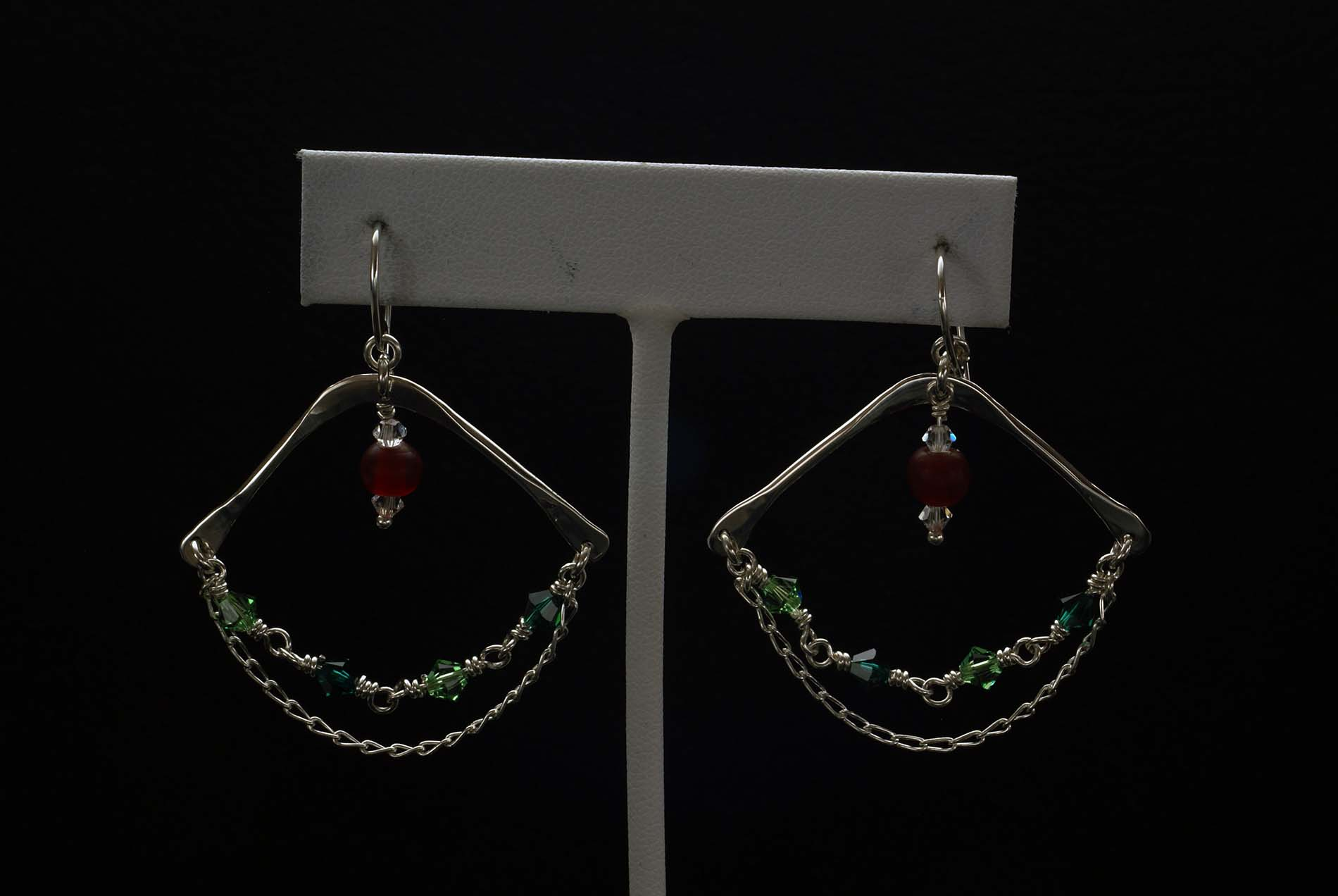 Hanging Chain Beads Earrings