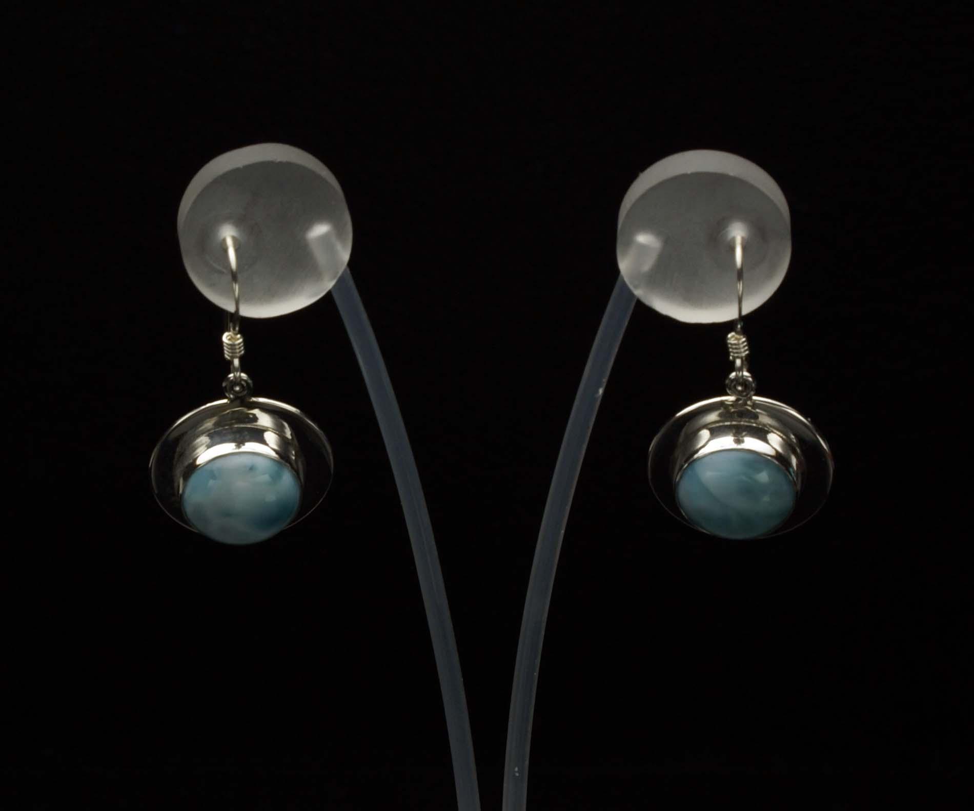 Round Larimar Earrings