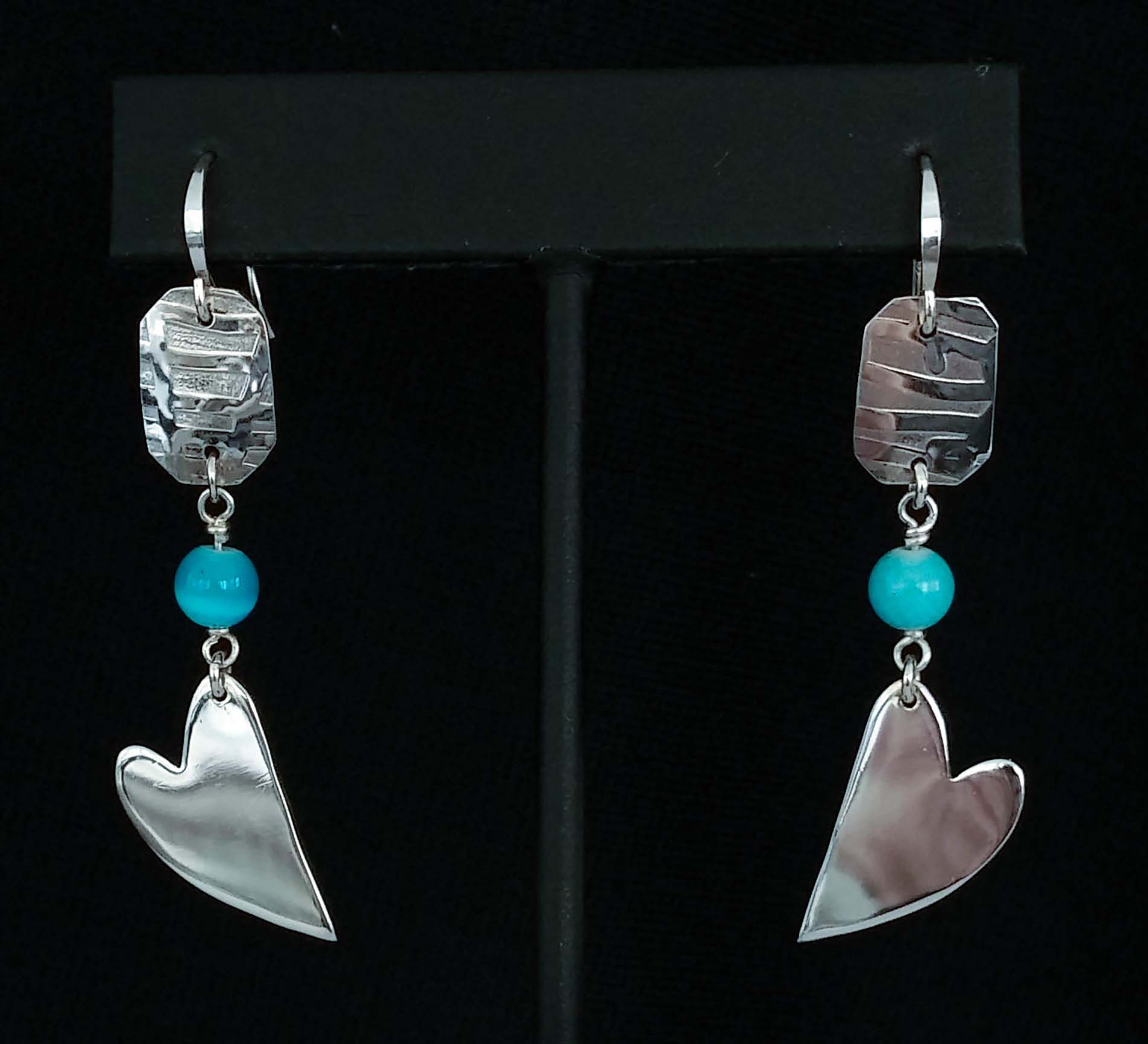 Lazy Heart and Square Turquoise Earrings
