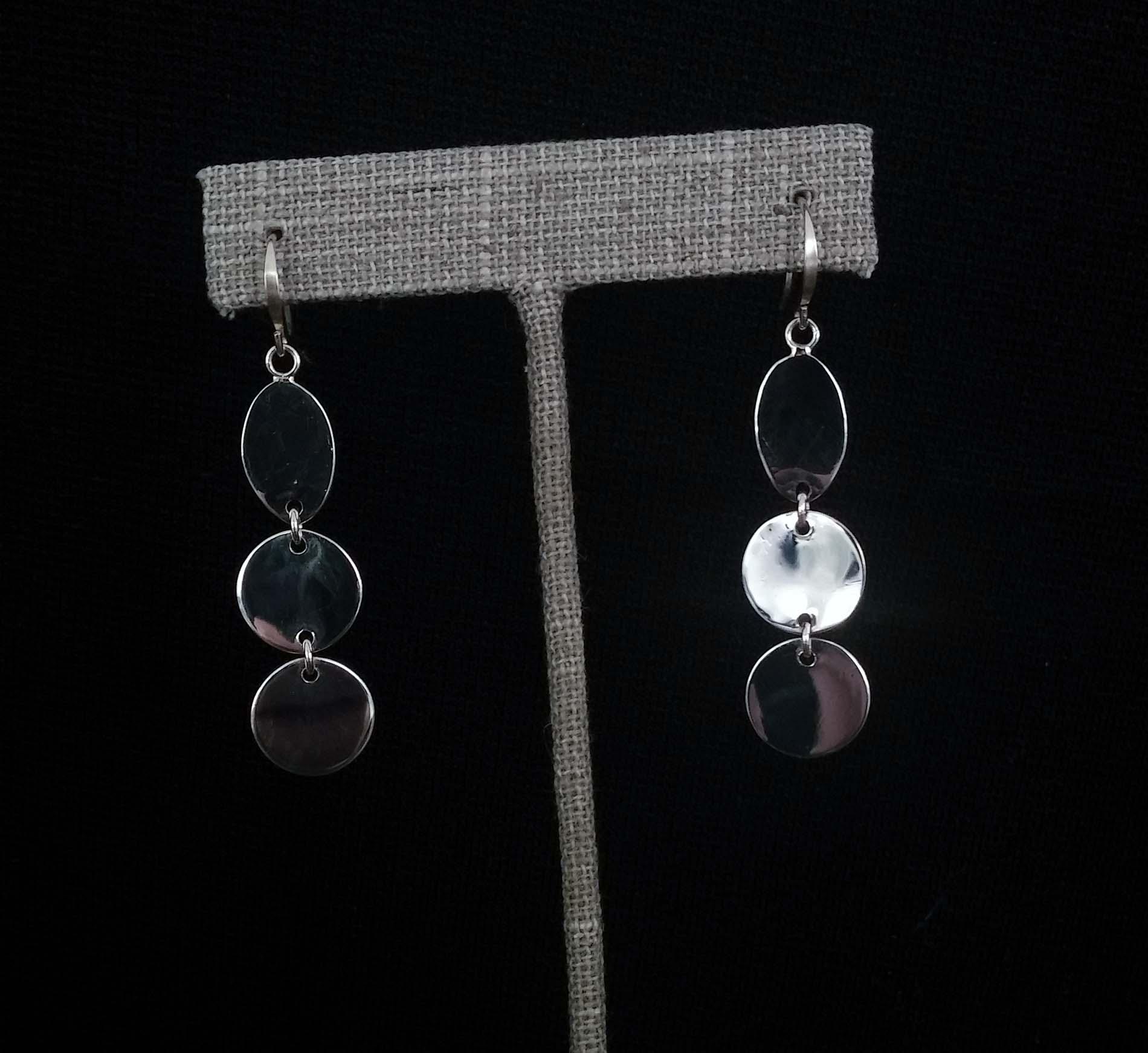 Silver 3 Disc Earrings