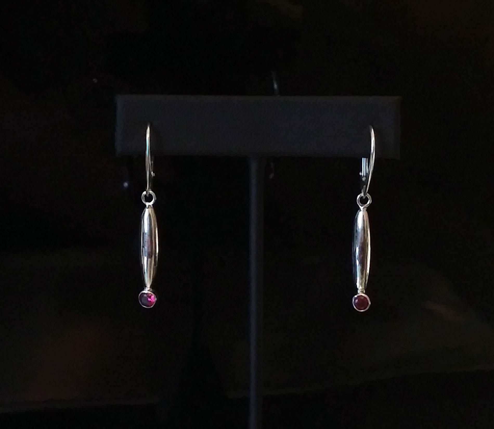 Silver Bullet Ruby Earrings