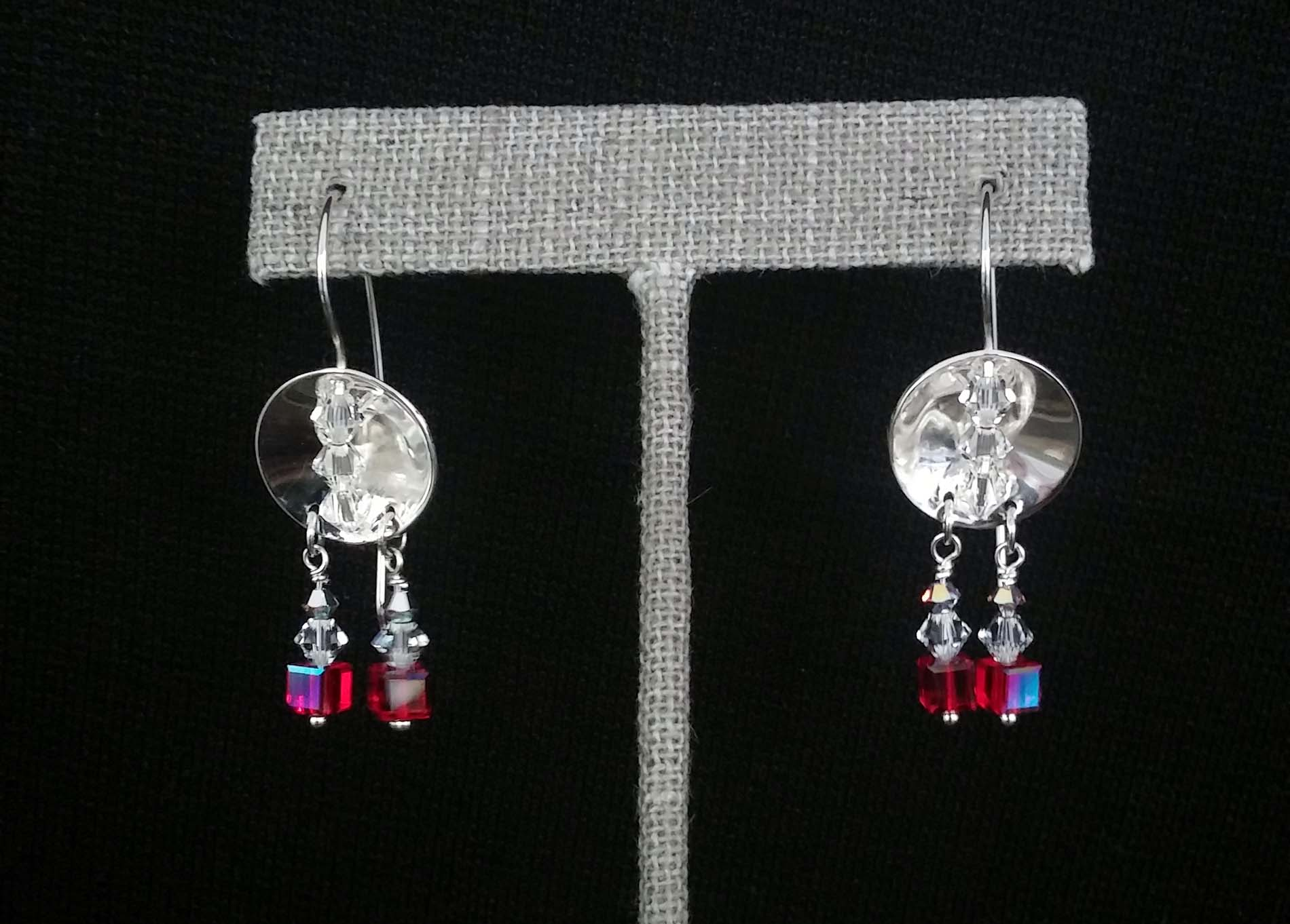 Silver Disc Hanging Colored Beads