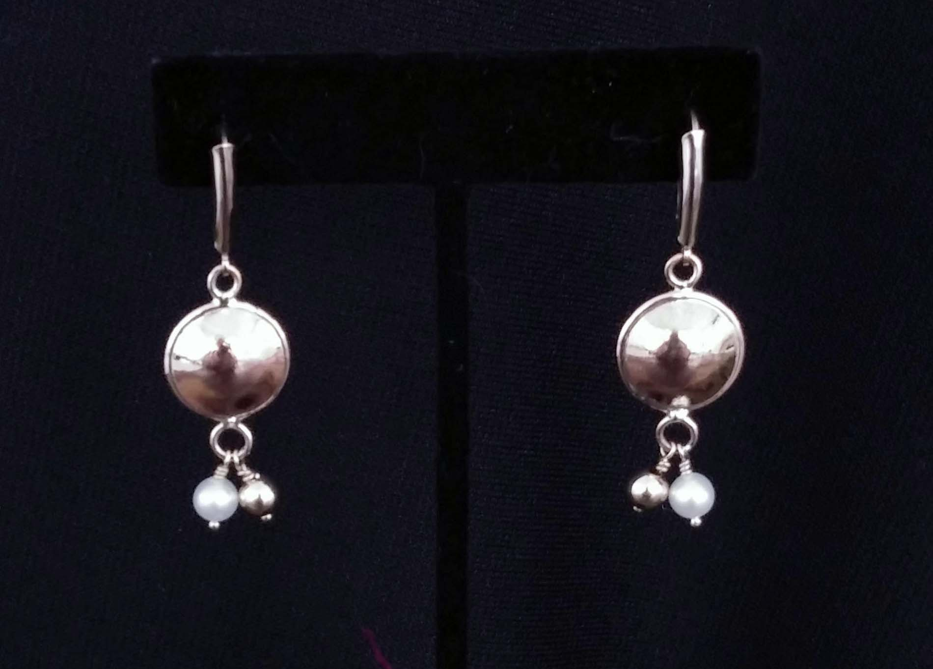 Silver Domed Earrings with Hanging Beads