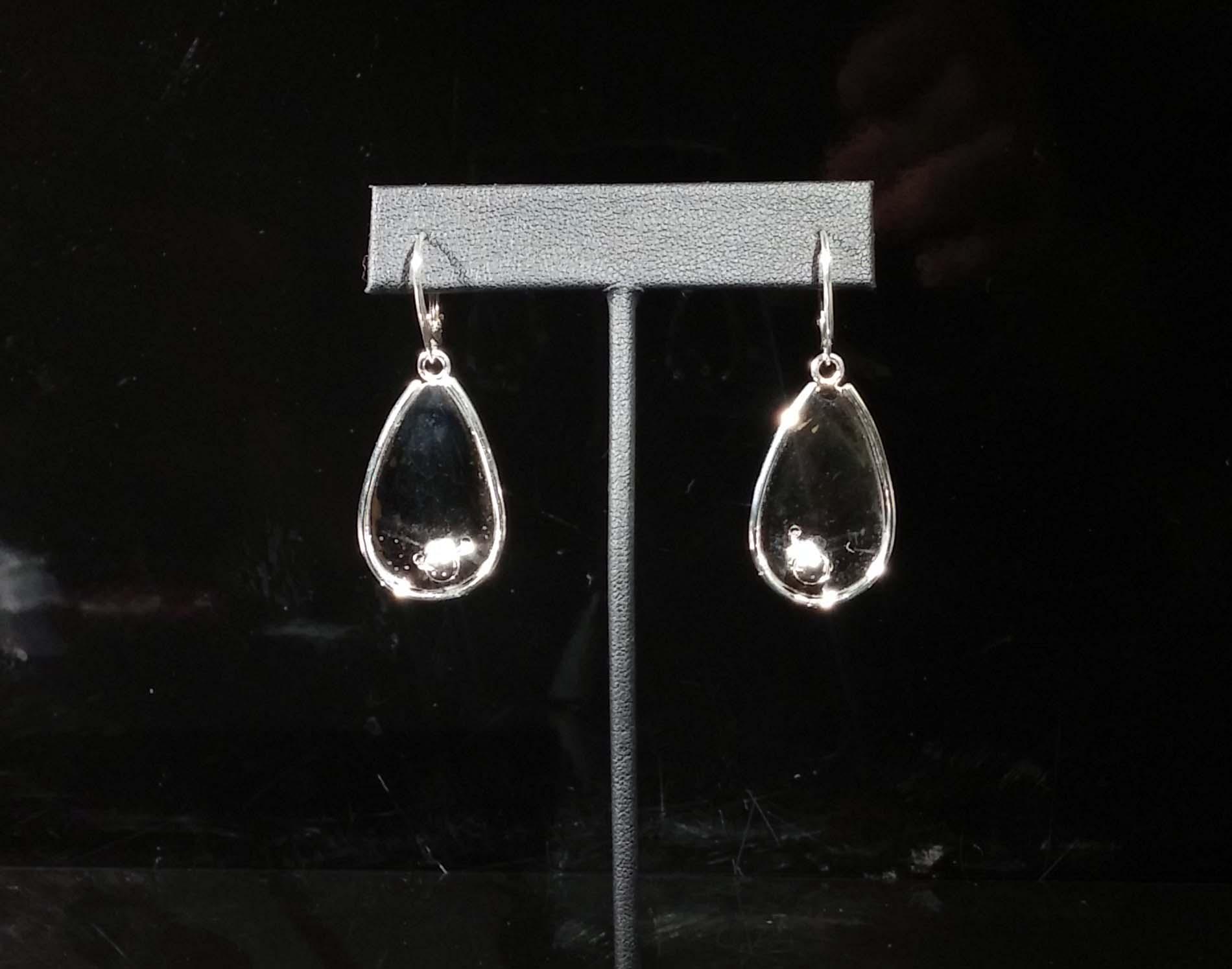 Silver Dots on Silver Teardrop Earrings