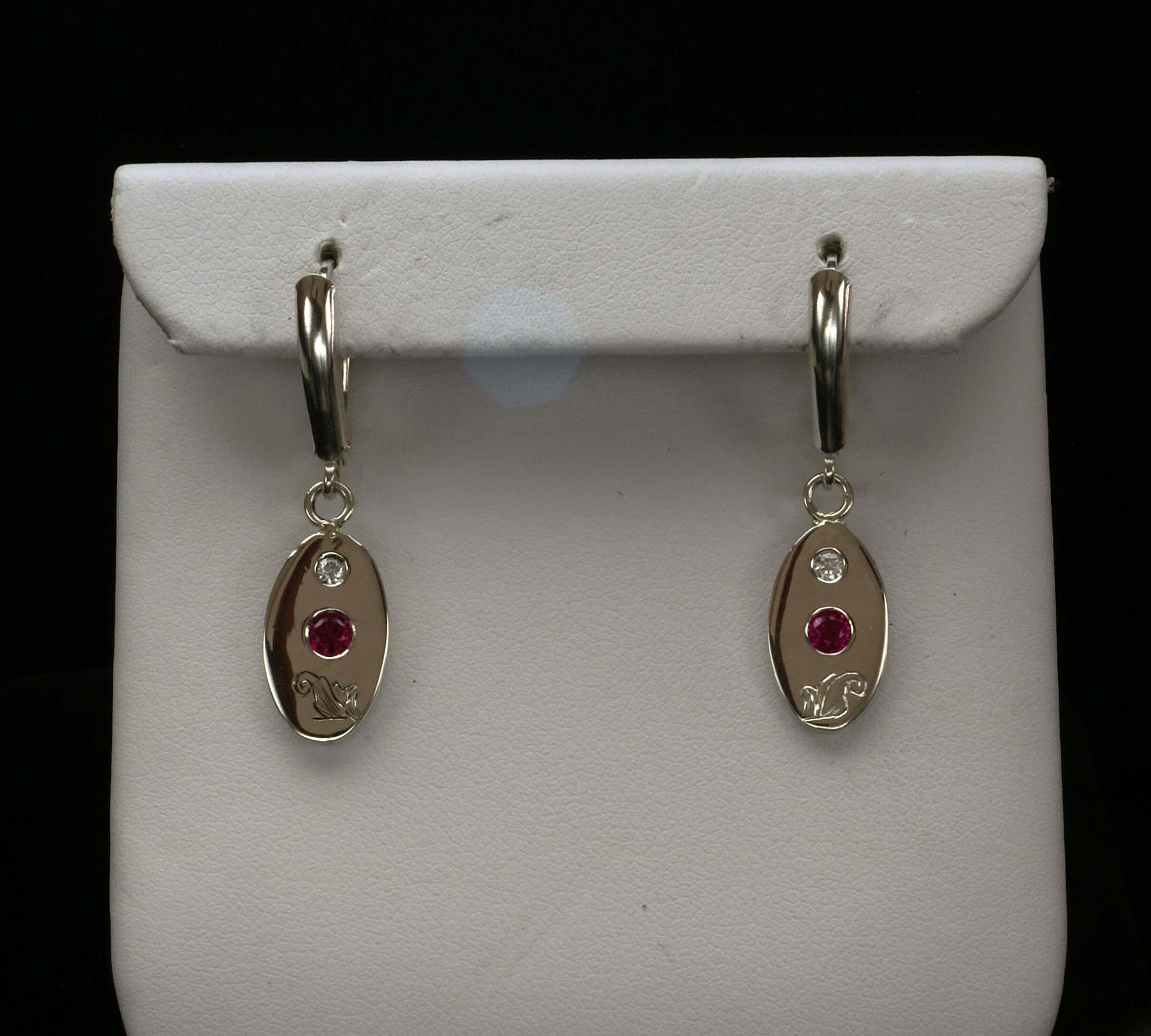 Silver Engraved Ruby Earrings