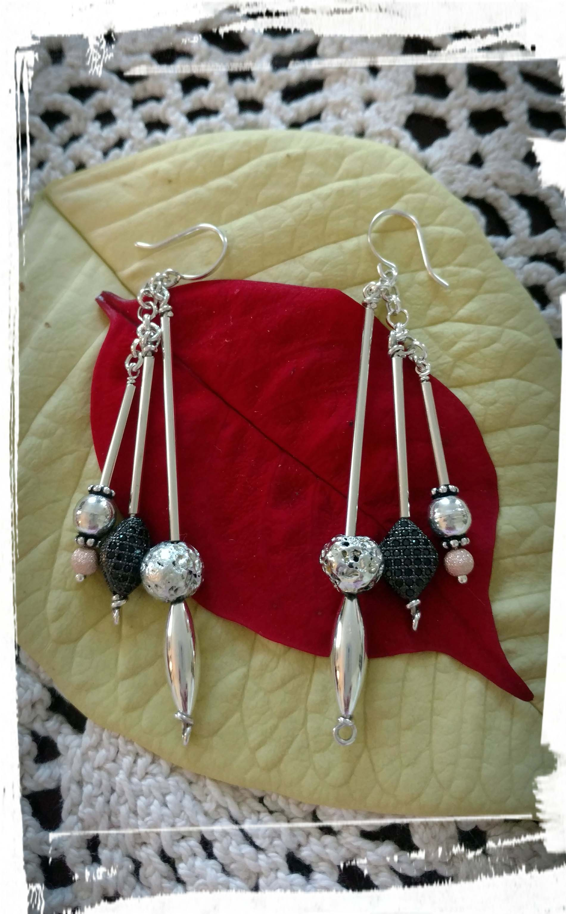 Silver Black and Ball Earrings