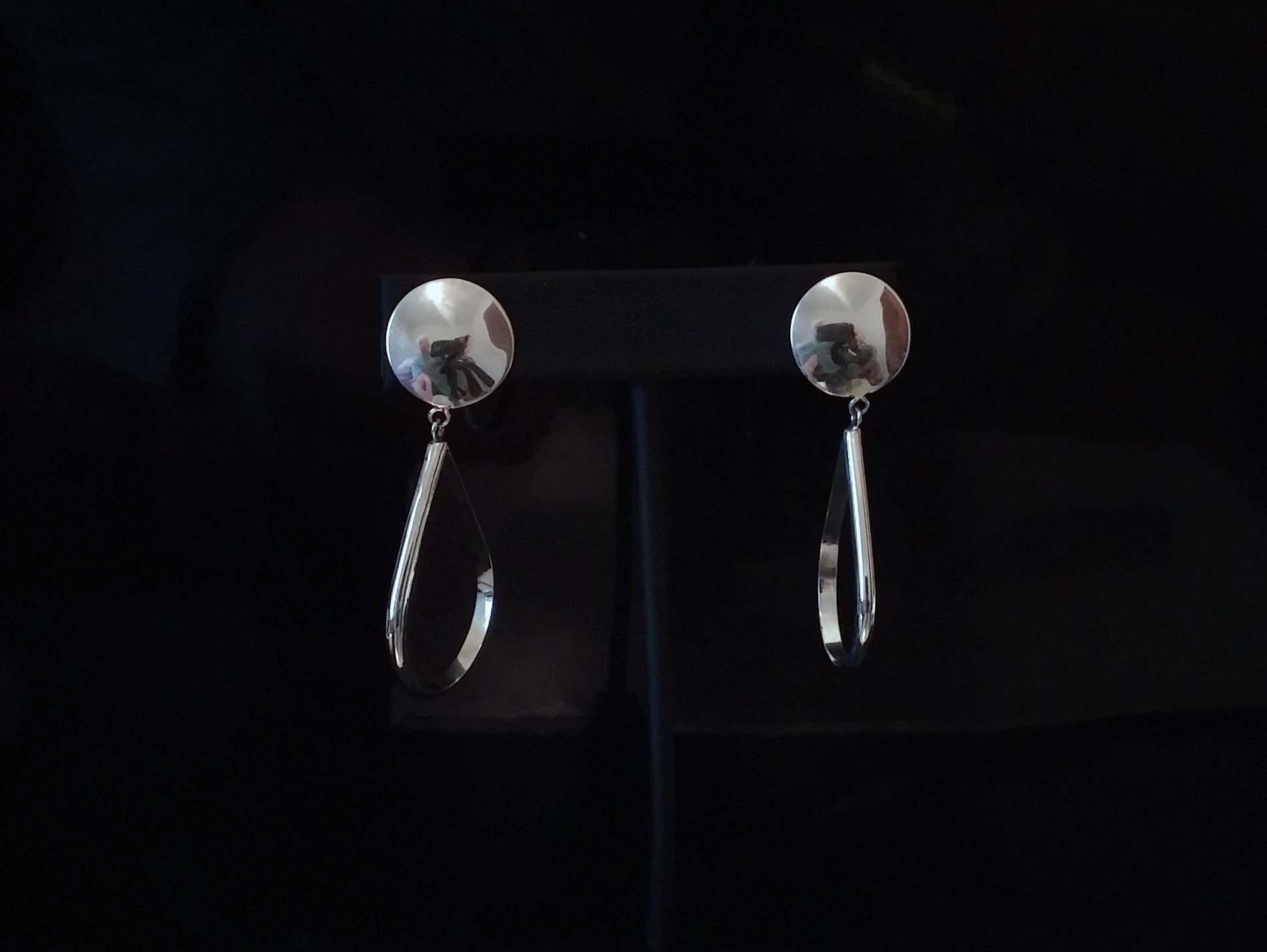 Small Silver Open Teardrops Earrings