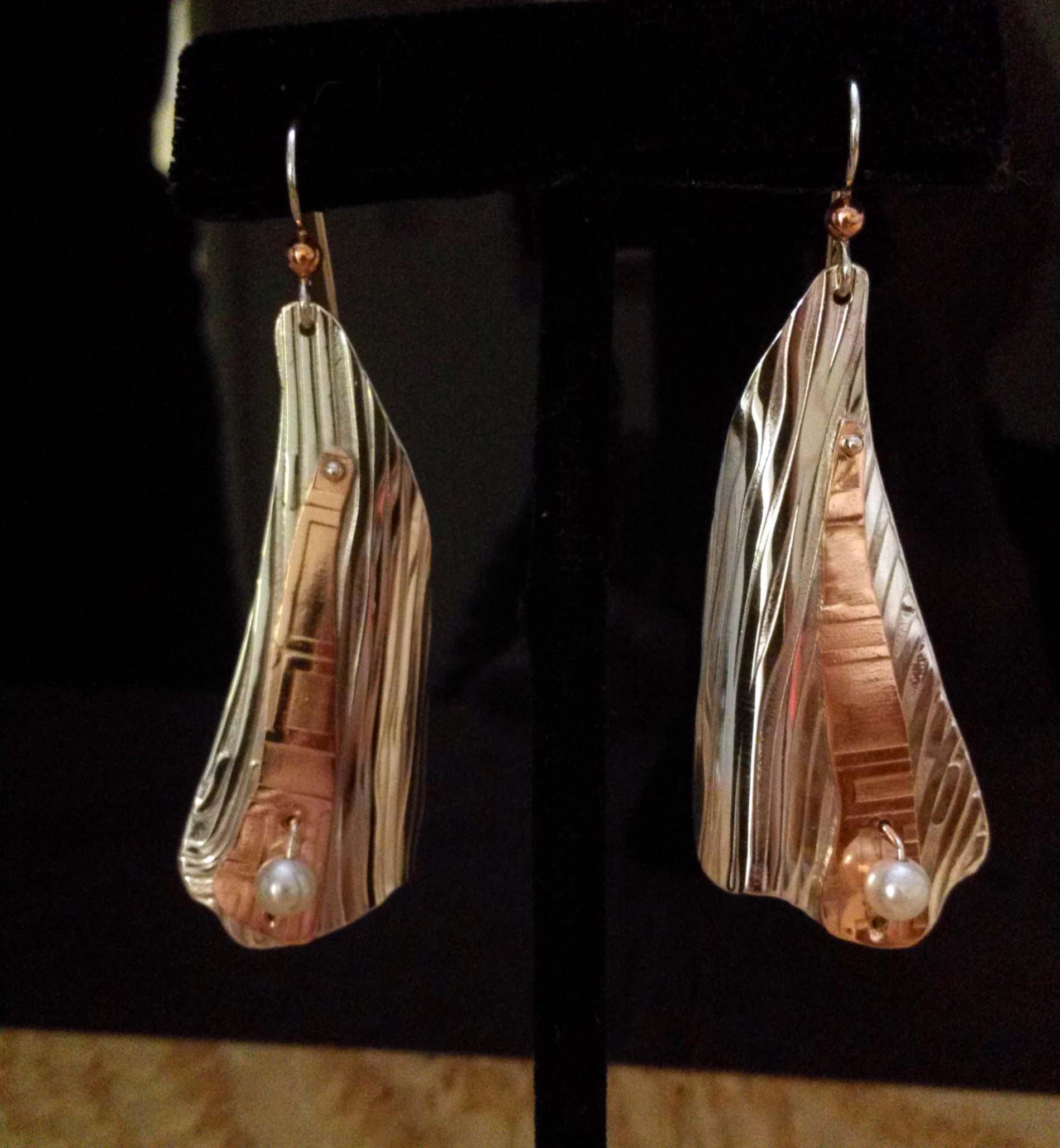 Silver Copper Long Earrings