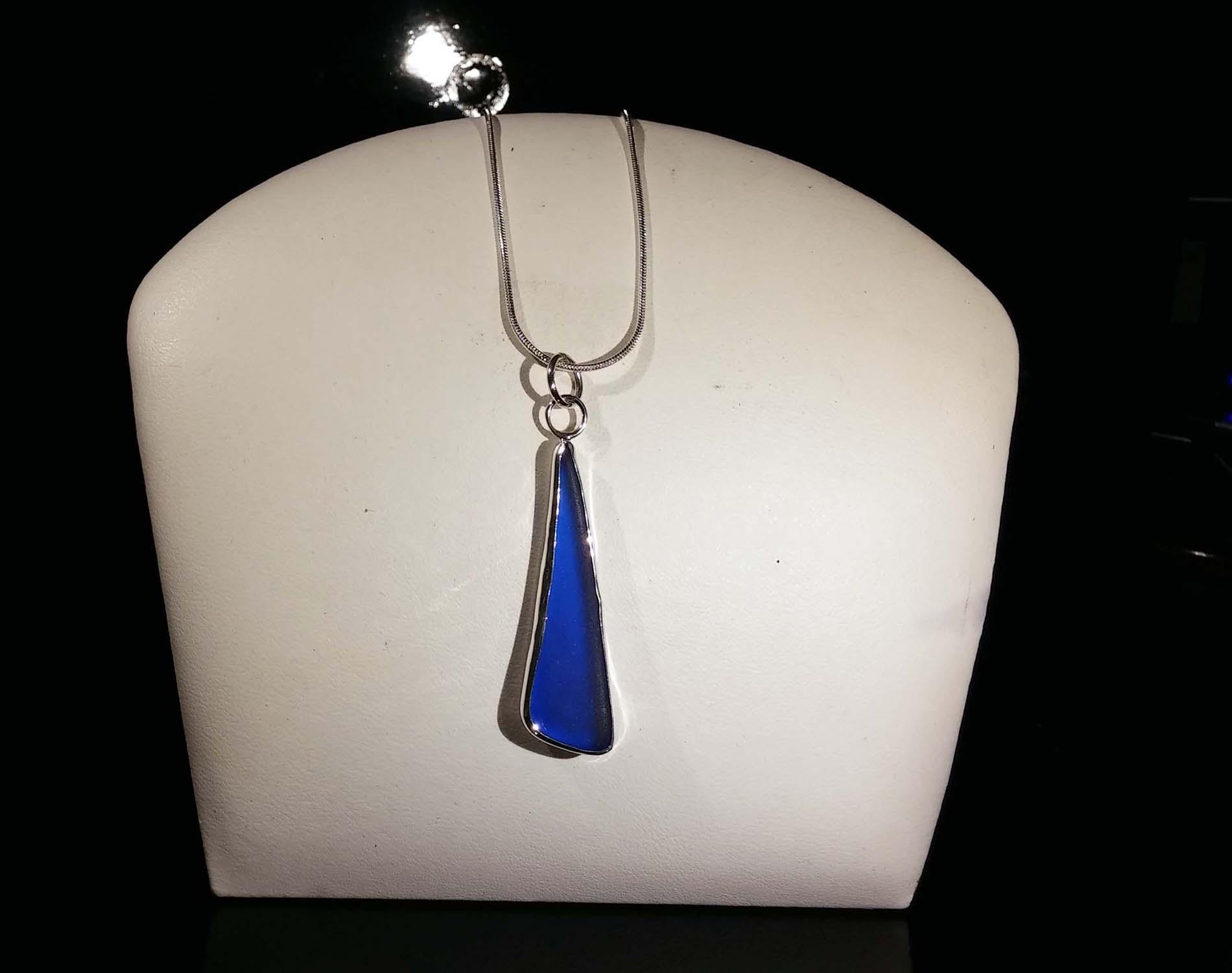Long Blue Seaglass Pendant