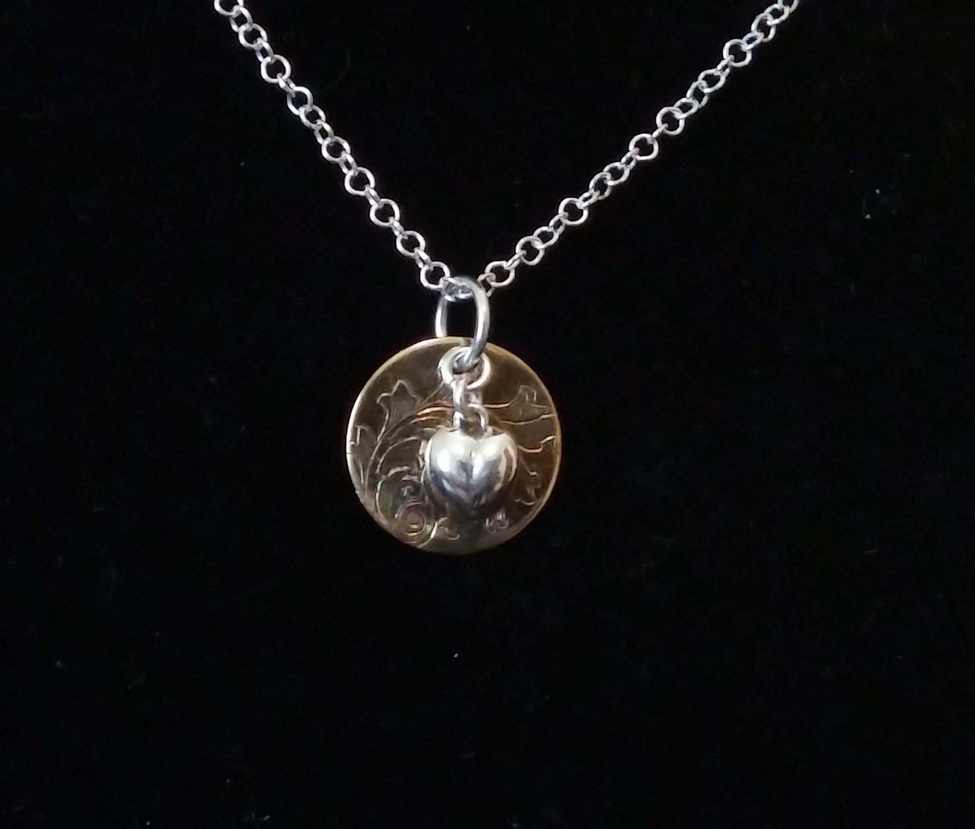 Engraved Copper Pearl Pendant