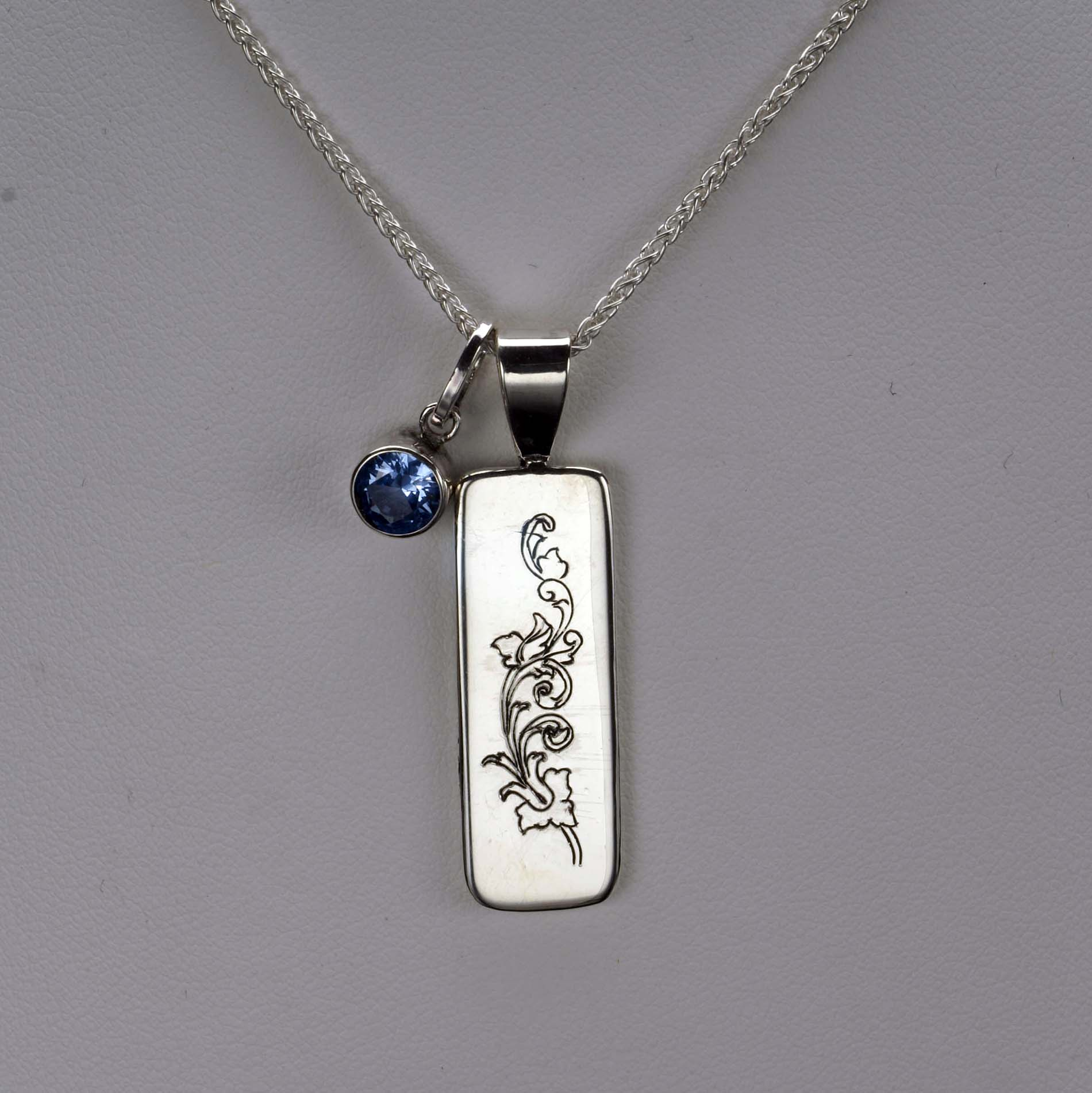 Engraved Pendant with Aqua