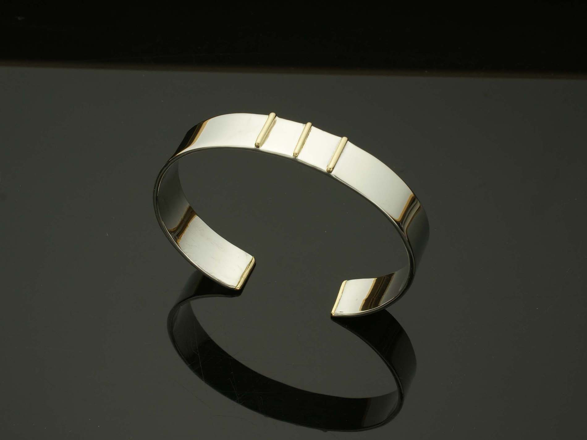 Silver Cuff with 2 Gold Bars