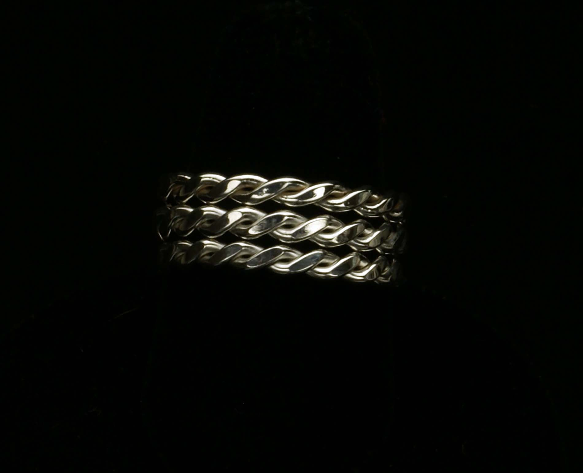 Twisted Silver Stacking Rings