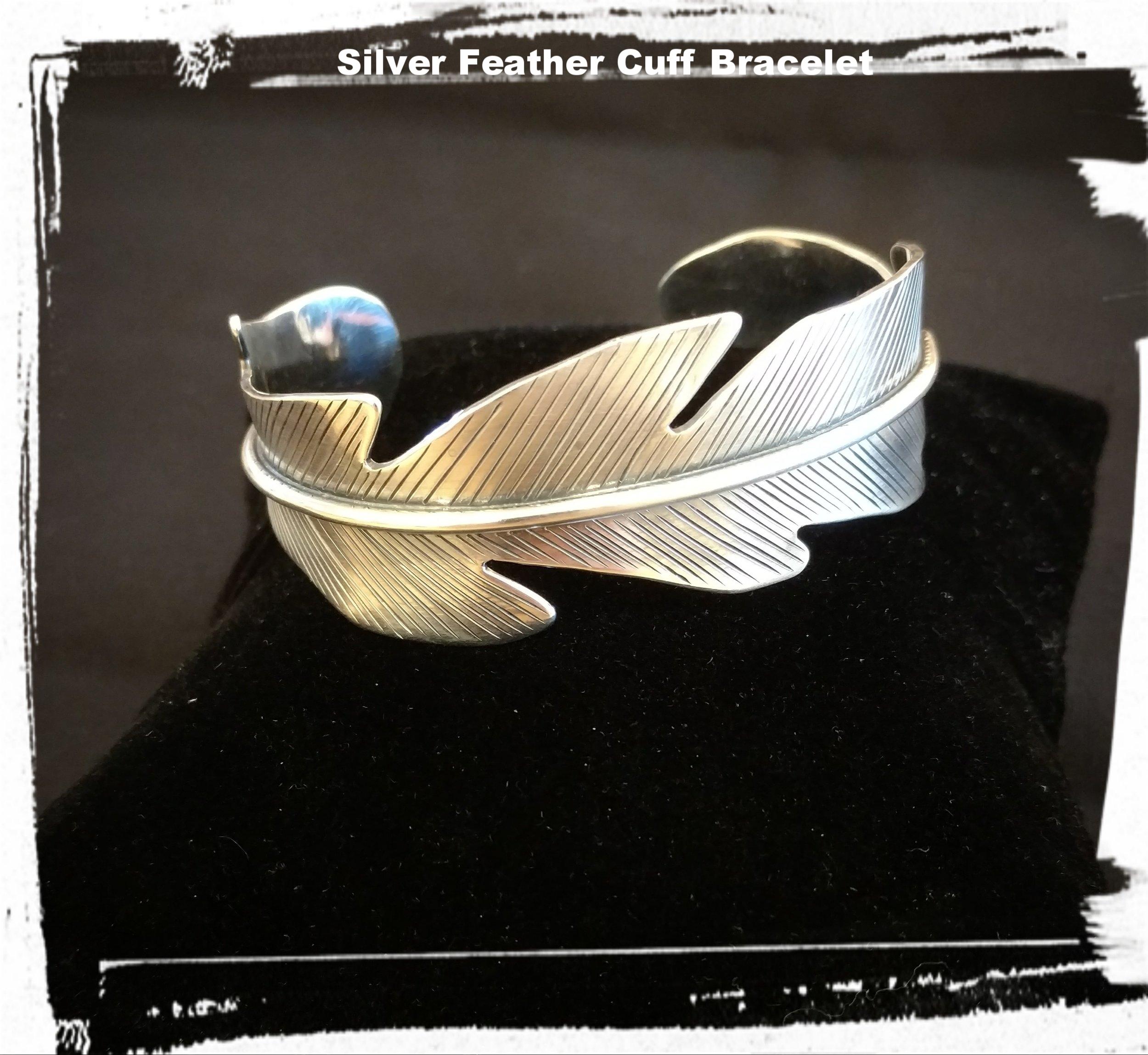 Silver Feather Cuff Bracelet