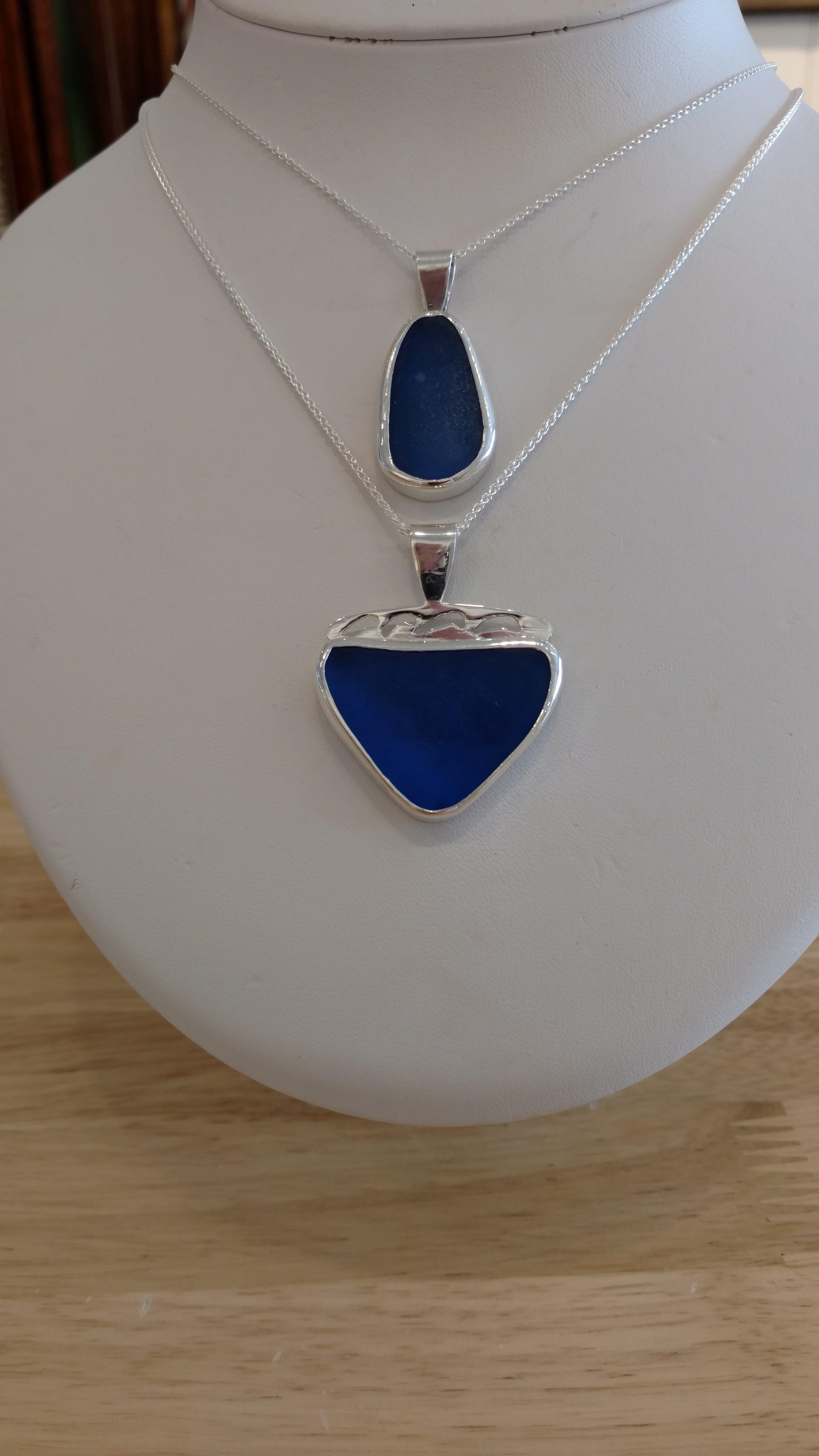 Blue Sea Glass Pendants