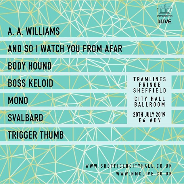 Y'all know this is only £6, right?  Tickets can be had from www.sheffieldcityhall.co.uk  @aawilliamsmusic @asiwyfa_music @body_hound @boss_keloid_band @monoofjapan @svalbard  #tramlinesfestival #tramlines #sheffield #music
