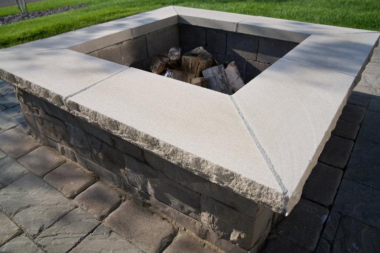 Fire Feature - Indiana Limestone, Rock Face Edge