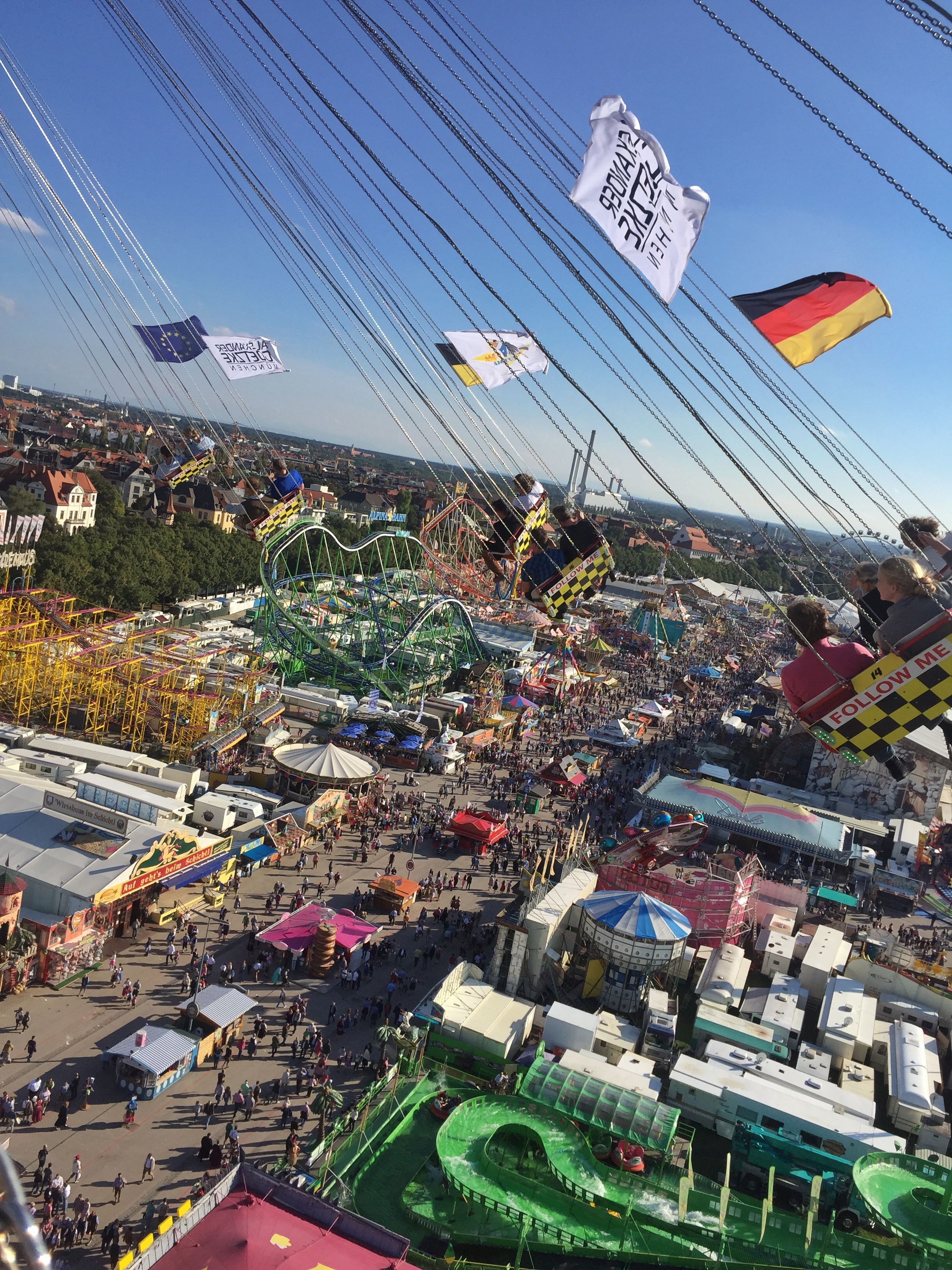 Take in 360 views of the fairgrounds from a swing that takes you (wait for it) 20 stories up into the air. You might need a few beers to calm your nerves first. (Photo by Linnea G.)