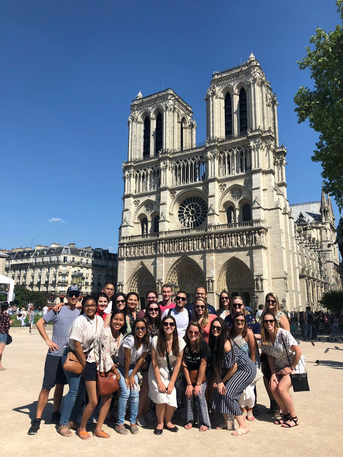 Colin with his group on Rome, London & Paris at Notre Dame Cathedral in Paris.
