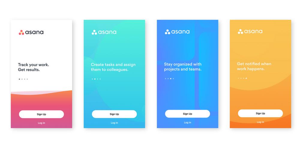 """úvodné """"welcome screens"""" aplikácie ASANA pre iOS zariadenia"""