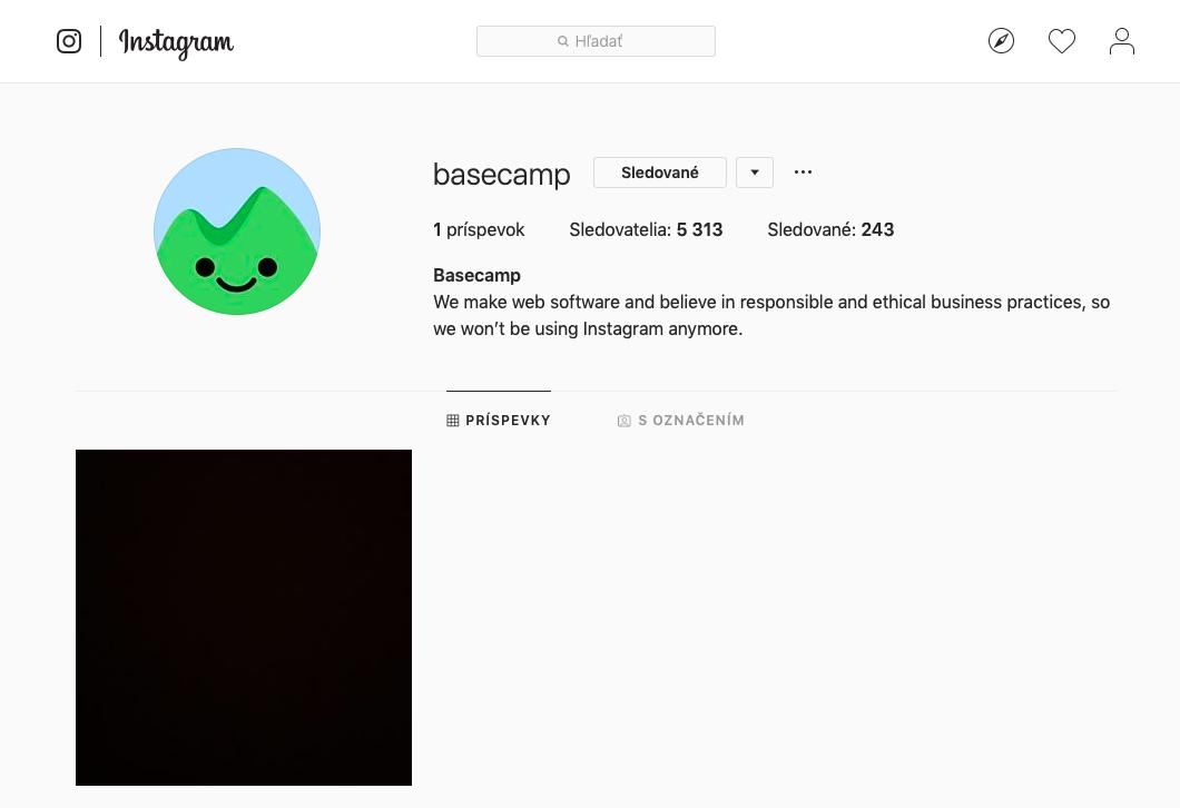 Takto aktuálne vyzerá Instagram účet spoločnosti Basecamp.