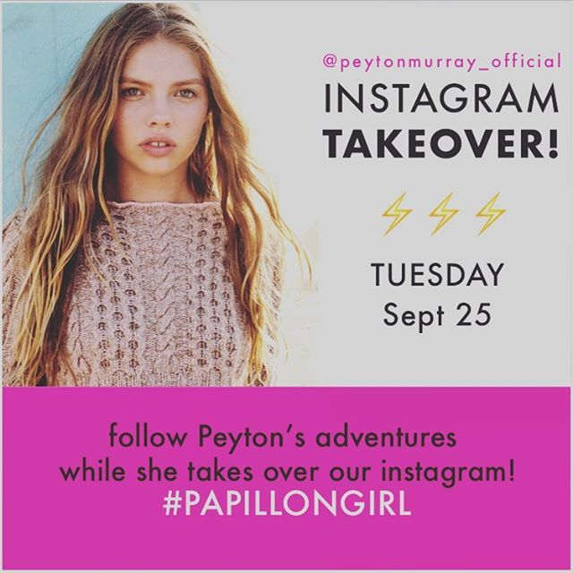 Tomorrow is Takeover Tuesday!! Tune in to see our Issue #4 cover girl @peytonmurray_official takeover our Instagram! 🦋🦋🦋🦋🦋🦋#papillongirl #surfkitten 📷photo @yvette.velasquez style director @michelonofrio