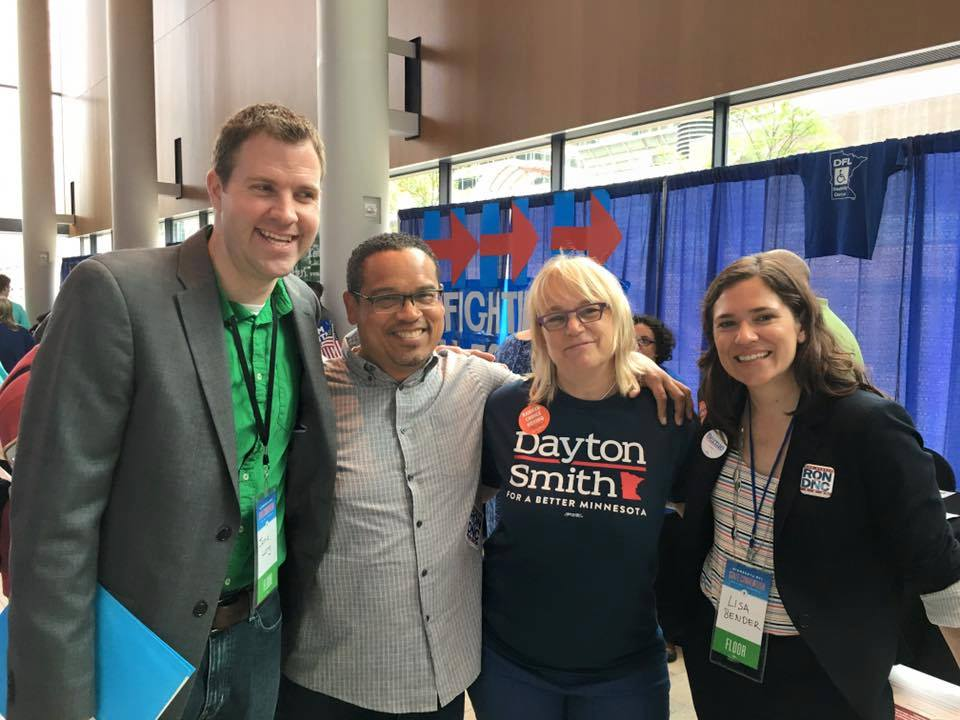 Jamie with Congressman Keith Ellison, former Senate District chair Roann Cramer, and City Councilmember Lisa Bender at the 2016 DFL state convention.