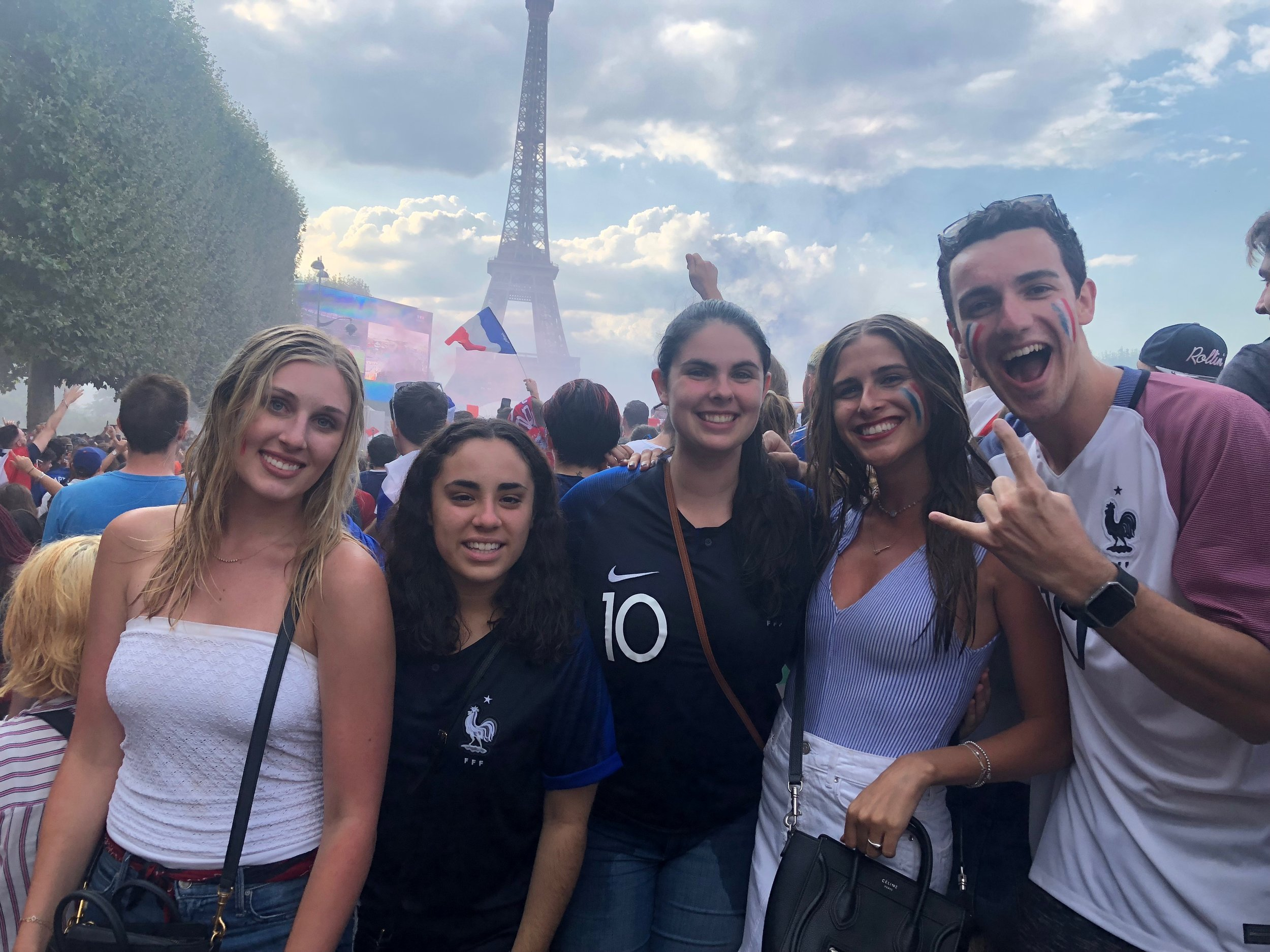 Megan (middle) and cohort members Taylor, Ariana, Gaby, and Nate on Bastille Day.