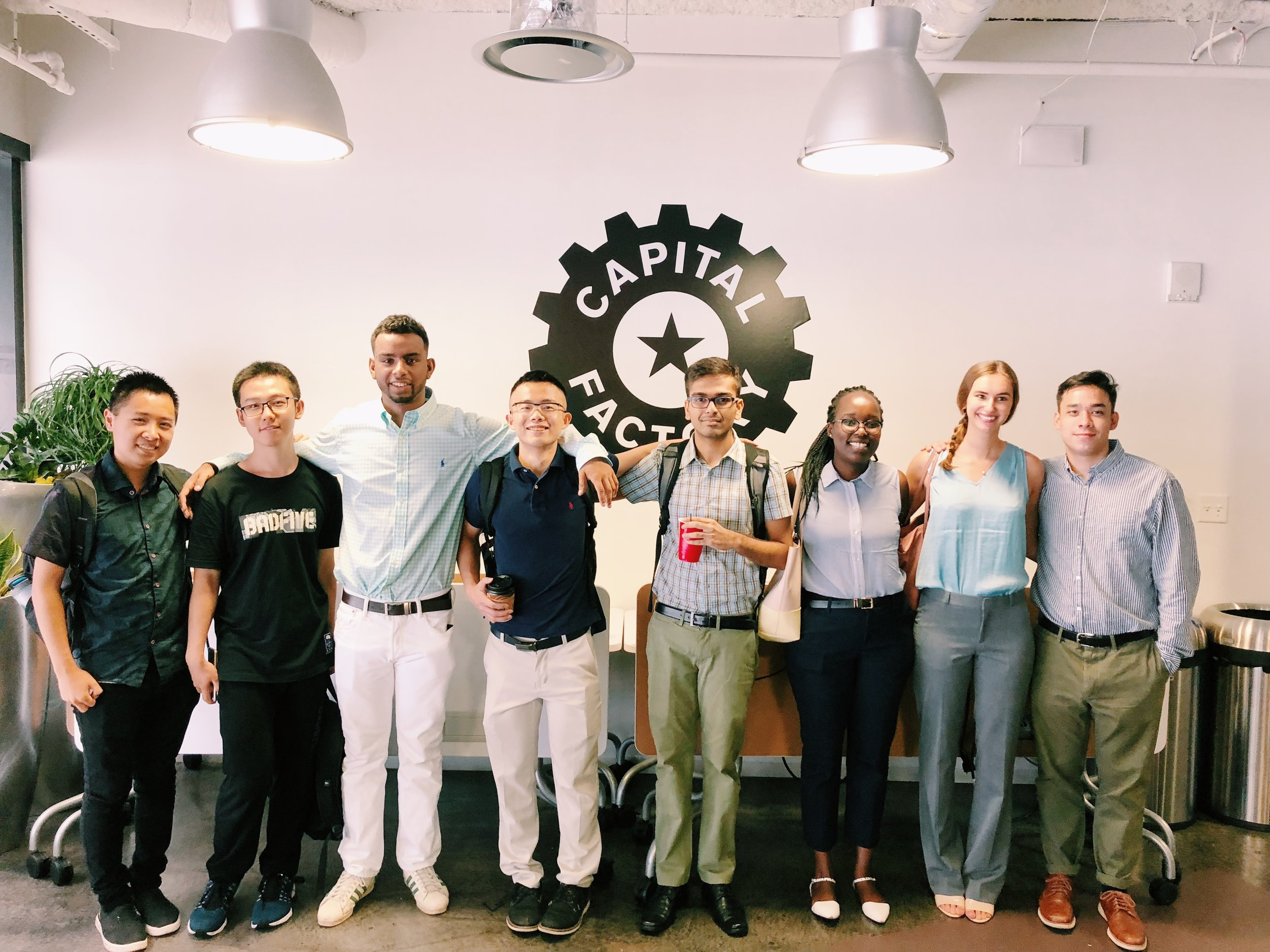 Vivian (third from right) and her fellow cohort mates, at Capital Factory during orientation.