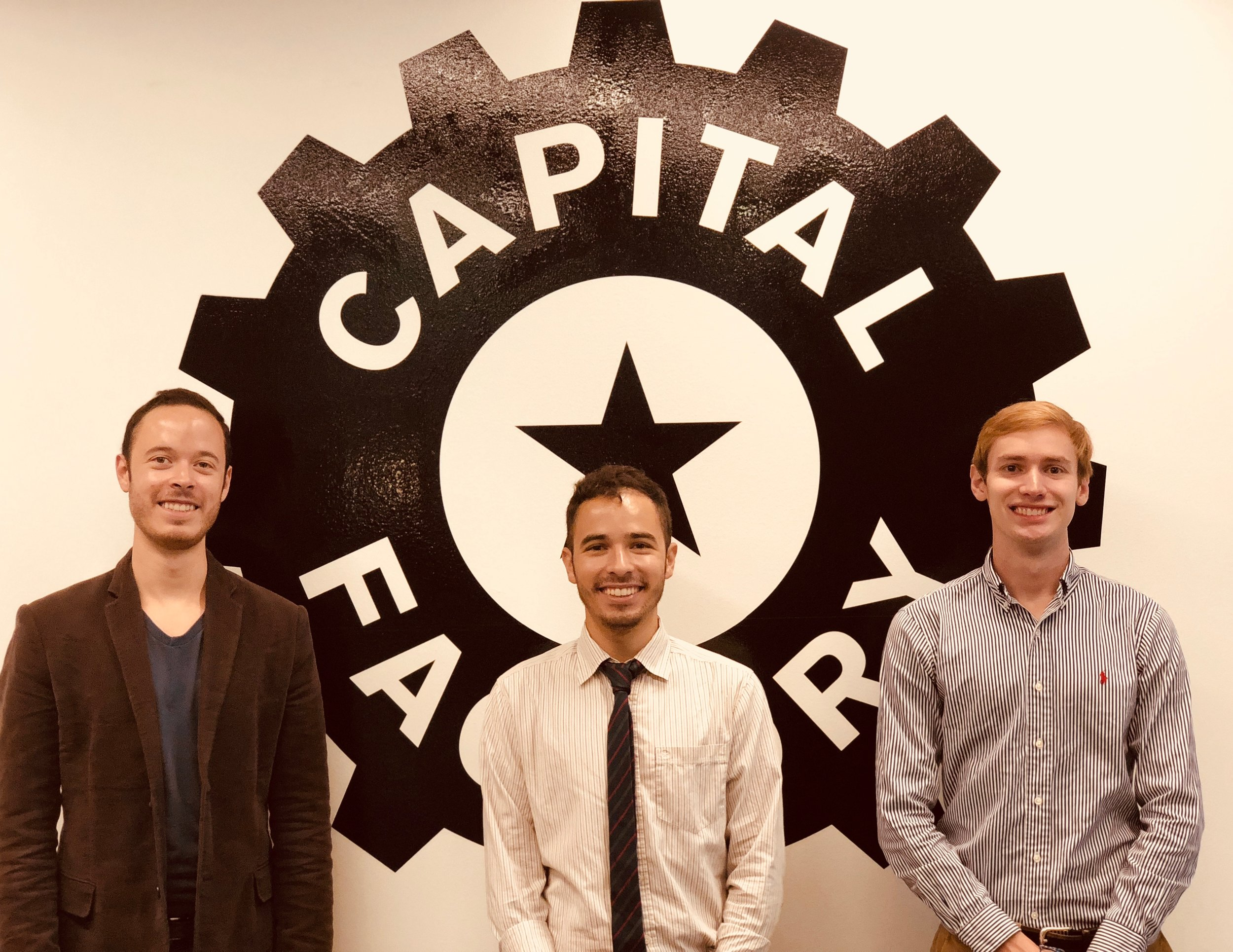 Chris Villanueva, Matt Villanueva, and Mel Stack at the Capital Factory in Austin, TX.