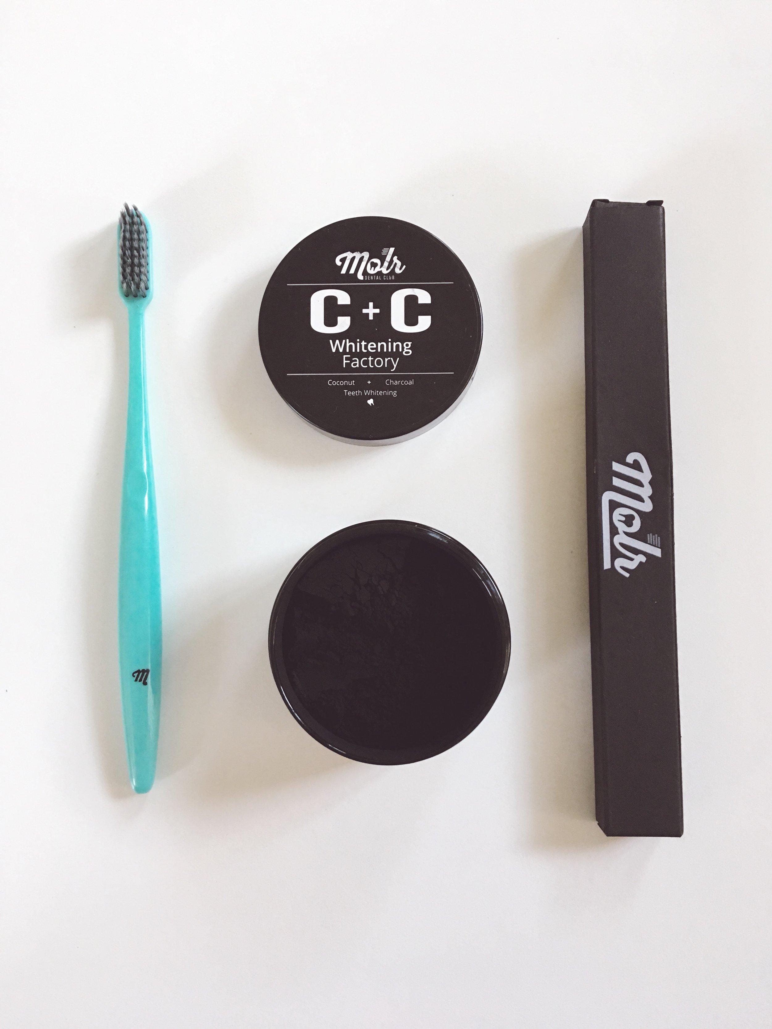 Molar Dental Club - Organic Carbon + Coconut Teeth Whitening Powder + Toothbrush