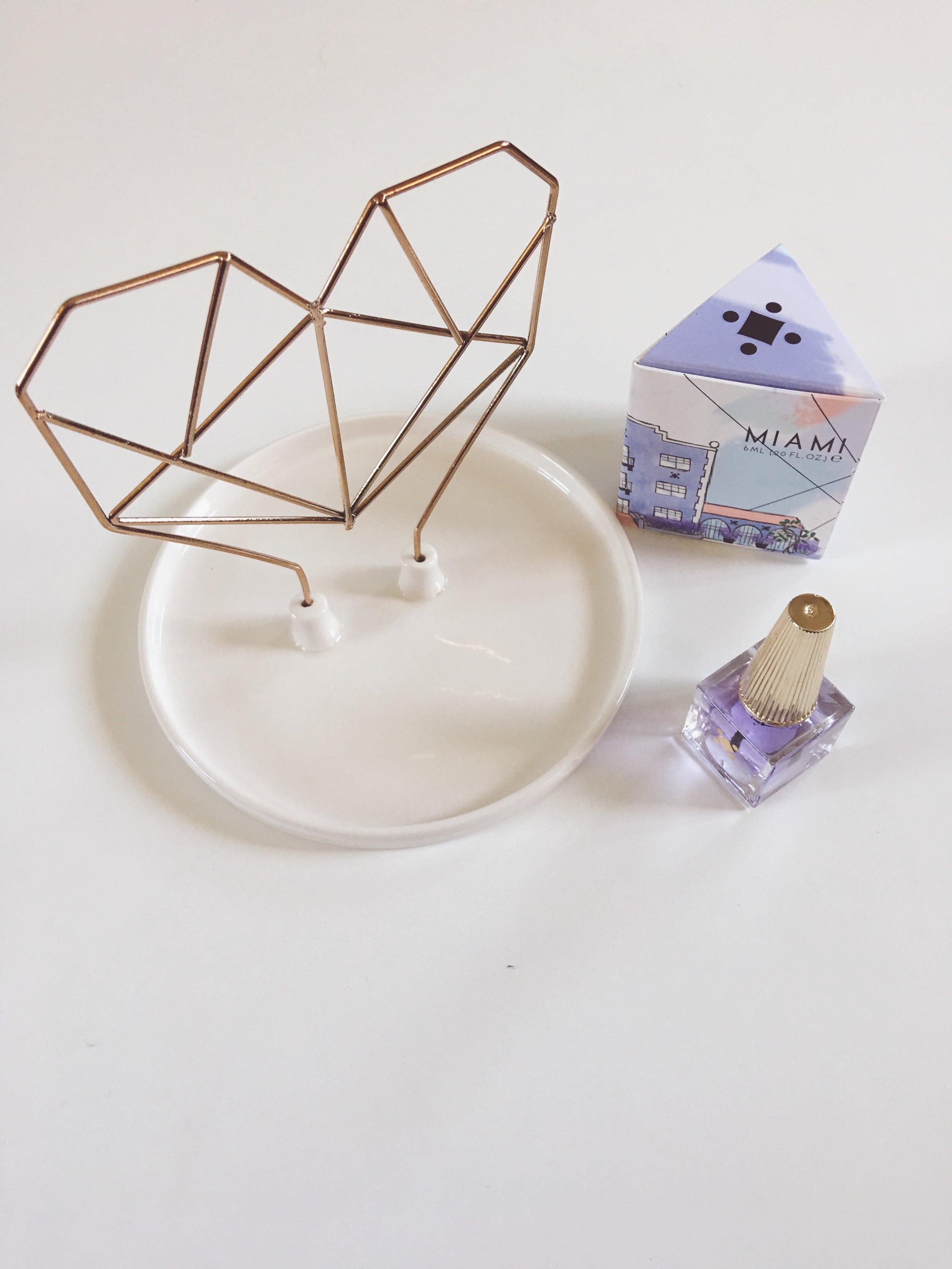 iMM lIVING + Deco mIAMI - Heart Ceramic Jewelry Holder + Lavender Cuticle Oil