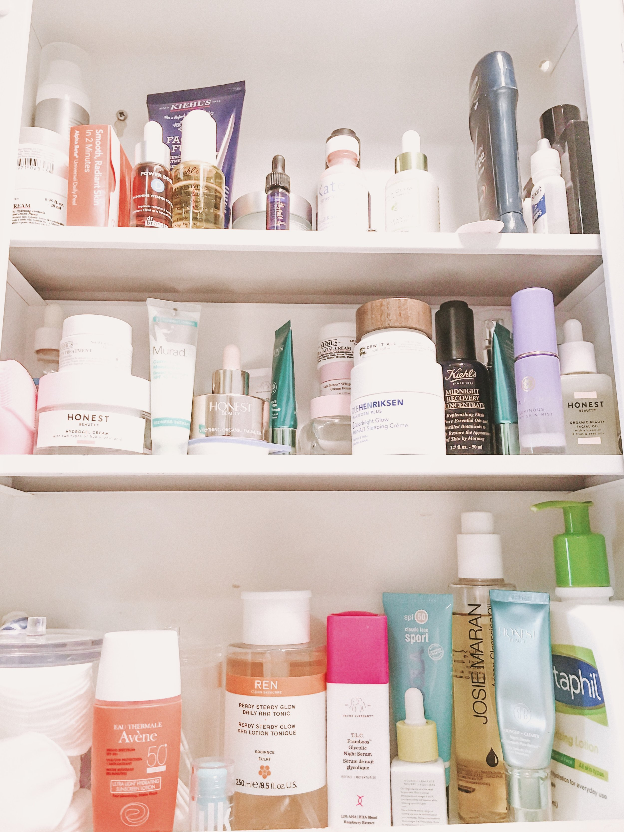 A peak inside of my skincare cabinet shared w/ the bf.