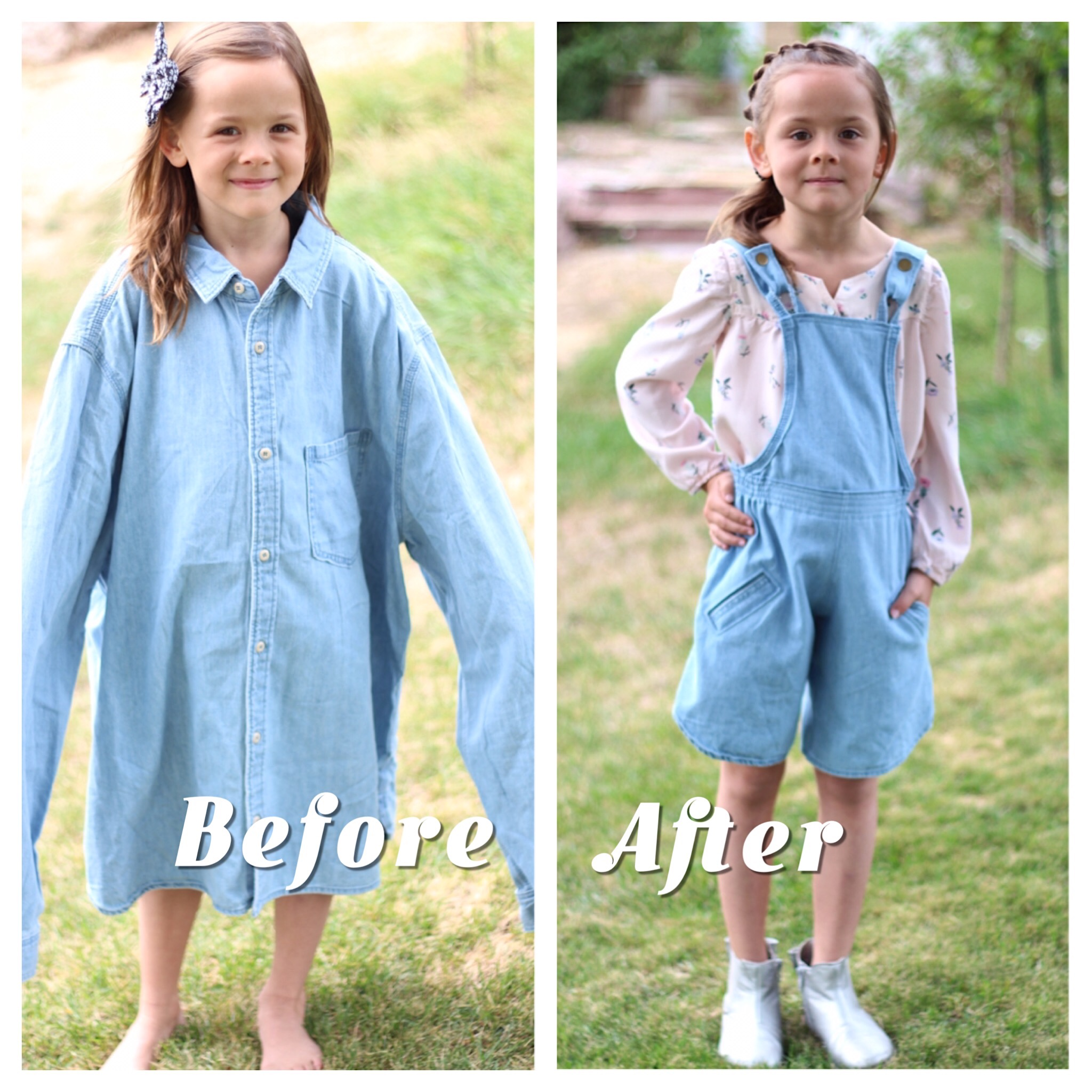 Before and After of a Men's Dress shirt Refashion into girl's Overall shorts