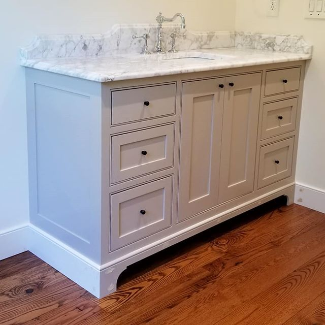 Visited this Bathroom Vanity last week after counters went in. One more paint coat, and will be ready to go!  More projects from this home to follow...